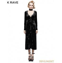 Black Gothic Retro Minimalist Band Imitation Gold Velvet Dress Coat Y 735