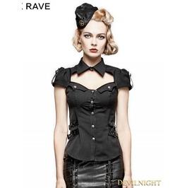 Black Gothic Military Uniform Short Shirt For Women Y 720 Bk