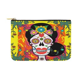 Funky Frida Kahlo Day Of The Dead Sugar Skull Canvas Clutch Bag