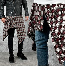 Scottish Motivated Asymmetric Cut Wrap Skirt 123