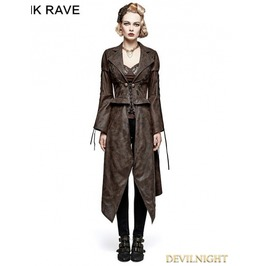 Brown Steampunk Removable Jacket For Women Y 731