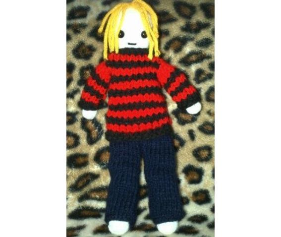 Kurt Cobain Inspired Knitted Rag Doll Gothic Grunge