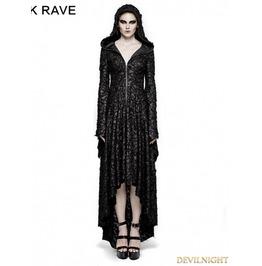 Black Gothic Vampire Decadent Hooded Dress Q 308