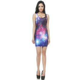 Galaxy Print Bodycon Dress Tank Tops