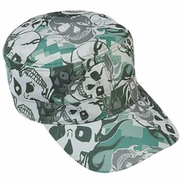 Grey Skull Camo Design Goth Cap Hat
