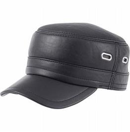 Genuine Black Leather Cap
