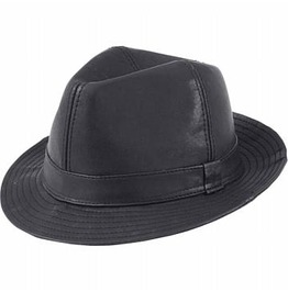Genuine Black Leather Fedora Hat