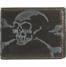 Genuine Black Leather Embossed Skull Wallet