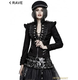 Black Gothic Military Frogs Short Jacket For Women Y 722