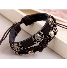 Punk Rock Skull Beaded Men Leather Bracelets