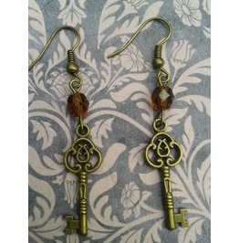 Gothic Steampunk Bronze Key Drop Bead Earrings