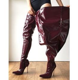 12cm Silver Metal Heel 80cm Crotch Length Show Boot Patent Shiny Pvc Raisin