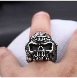 Mens motor harley davidson double guns skull rings rings