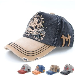 Unisex Printed Baseball Cap Denim Hat Baseball Cap Distress Cap