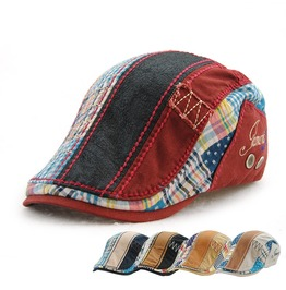 Unisex Flat Cap Patchwork Baseball Cap Splice Beret Hat