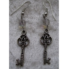 Gothic Steampunk Silver Key Drop Bead Earrings