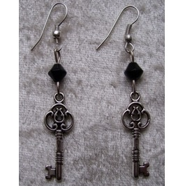 Gothic Steampunk Silver Key Drop Black Bead Earrings