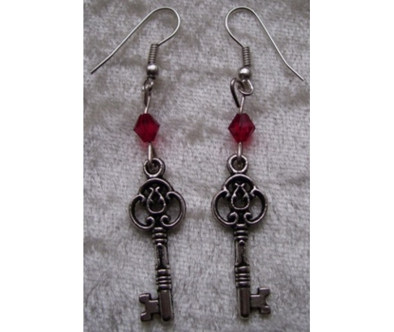 Gothic Steampunk Silver Key Drop Red Bead Earrings_Earrings_2.jpg