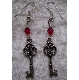 Gothic Steampunk Silver Key Drop Red Bead Earrings