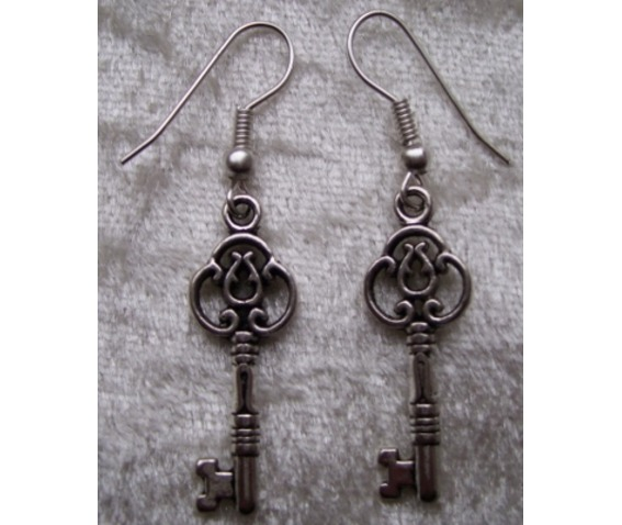Gothic Steampunk Silver Key Drop Earrings_Earrings_2.jpg