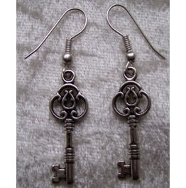 Gothic Steampunk Silver Key Drop Earrings