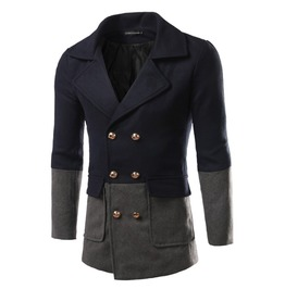 Men's Stylish Fashion Color Block Wool Double Breasted Pea Coat