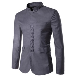 Men's Stant Collar Eight Buttons Slim Fitted Suit
