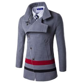 Men's Slim Fitted Unbalanced Single Breasted Button Color Block Pea Coat