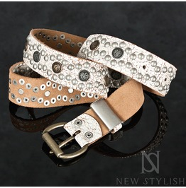 Emblem Studded Leather With Aging Finish Belt 58