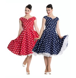 Gorgeous Retro 1950s Style Navy Or Red Polka Dot Swing Dress Rockabilly