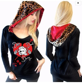 Sexy Leopard Tattoo Skull Goth Animal Print L/S Graphic Hoodie Top