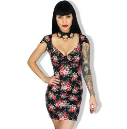 Sexy Floral Corset Back Pinup Rockabilly Vintage Goth Dress S/M/2/X/L
