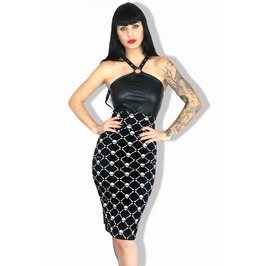 Sexy Skull Graphic Tattoo Festival Goth Bow Back Dress Skirt S/M/2/X/L