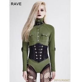 Green Gothic Siamese Military Uniform T Shirt For Women T 434 Gr