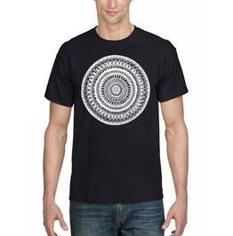 "Mens Black T Shirt With ""Mandala"" Printed In White Ink"