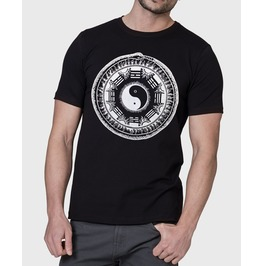 "Mens Black T Shirt With ""Infinity"" Screen Printed In White Ink"