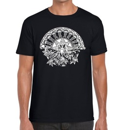 "Mens Black T Shirt With ""Lotus Heart"" Screen Printed In White Ink"