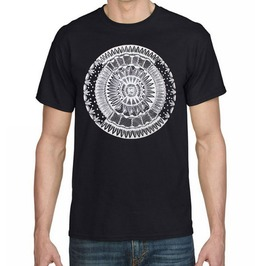 "Mens Black T Shirt With ""Eastern Flower"" Screen Printed In White"
