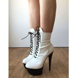 9431ca5483e 15cm Ankle Platform Laceup Zip Bootie Punk Cosplay Matte White Custom Color