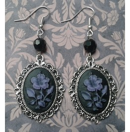 Gothic Victorian Black/Purple Flower Drop Bead Cameo Earrings