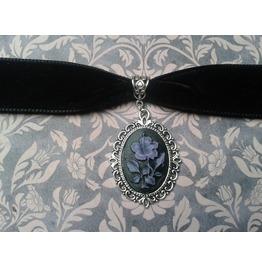 Gothic Victorian Steampunk Purple Flower Cameo Black Velvet Choker