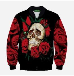 Women's Black/Red Skull Roses Baseball Jacket