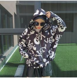 Women's One Size Skull Bones Hoodie Jacket