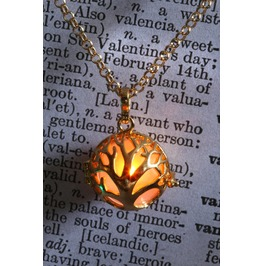 Orange Glowing Orb Tree Of Life Pendant Necklace Locket Golden