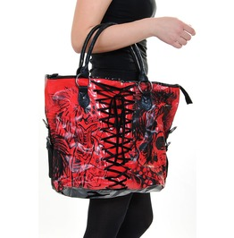 Large Red American Nightmare Tote Handbag (Goth,Skull)