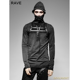 Black Steampunk Leather Loop Hooded T Shirt For Men T 442 Mbk