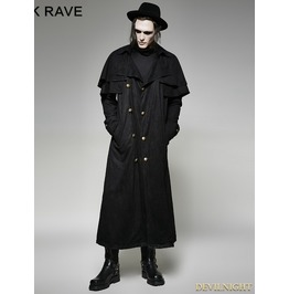 Black Steampunk Long Imitation Suede Coat For Men Y 716