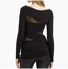 Women's Mesh Paneled Slim Fitted Long Sleeve Shirt