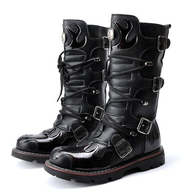 Men's Steampunk Fire Totem Black High Boots Motorcycle Boots