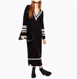 Women's V Neck Contrast Slim Fitted Midi Sweater Dress